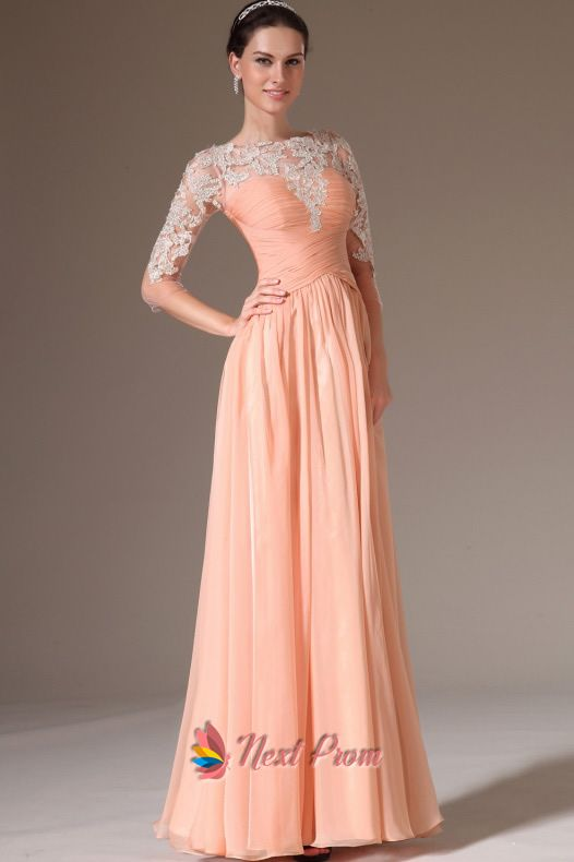 Peach Casual Dresses With Lace Sleeves,Apricot Peach Prom Dresses ...
