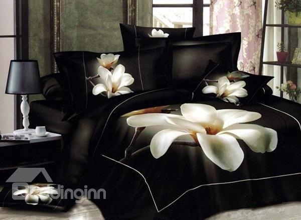 White Big Magnolia Flower 3d Print 4 Piece Duvet Cover Bedding Sets 10528741 Bedding Sets Bed Linen Sets 3d Bedding Sets