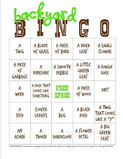 Backyard Campout + Bingo Printable | Outdoor Activities ...