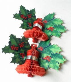 Pair Of Vintage Paper Card Honeycomb Bell Holly Wall Christmas Decoration Circa 1950s Vintage Christmas Decorations Paper Christmas Decorations Christmas Crafts Decorations