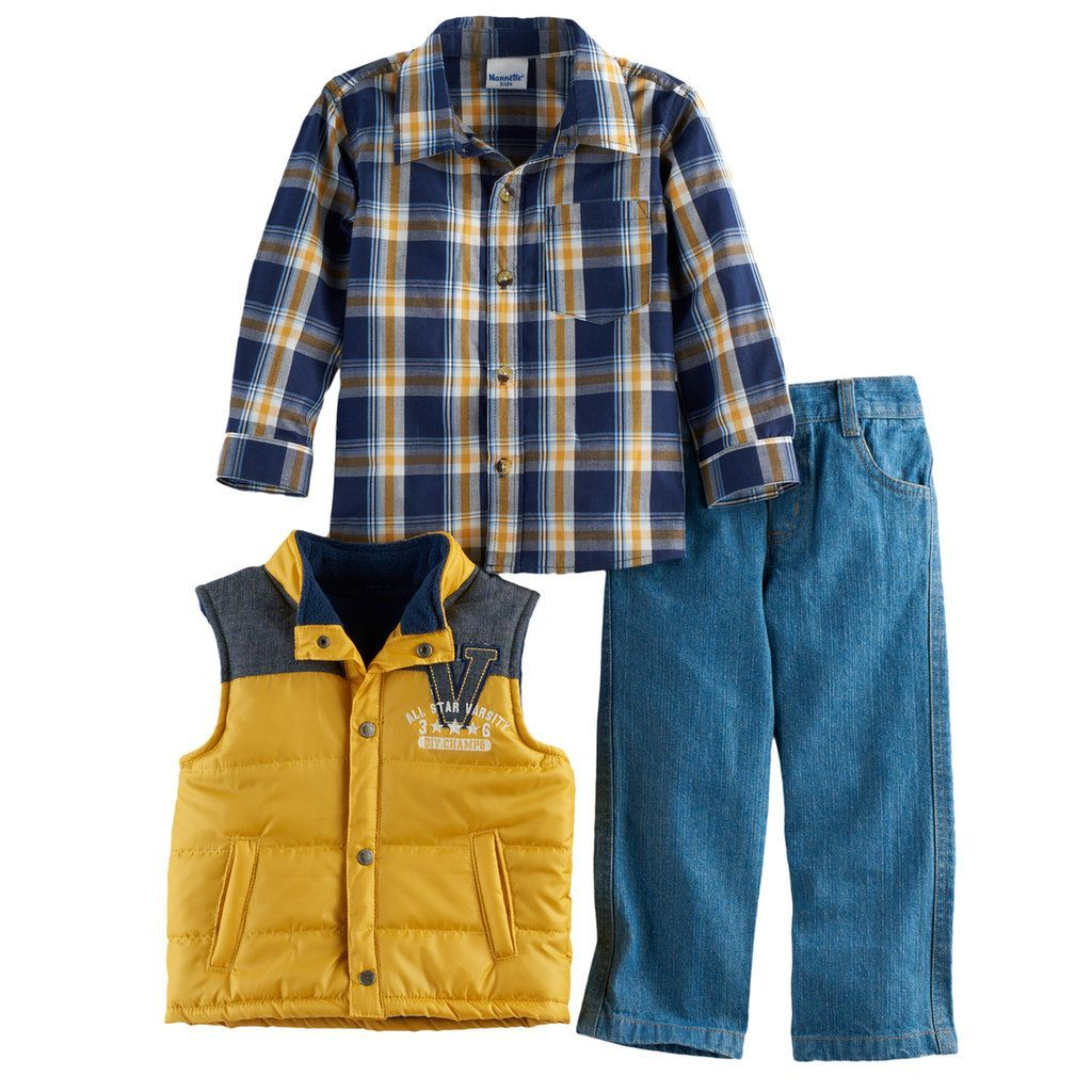 8be1ebb11 Boys 4-7 Nannette 3-pc. Plaid Shirt