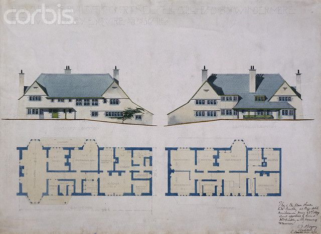 design for house for w buckley by charles voysey 1890s - Images House Plans 1890 S