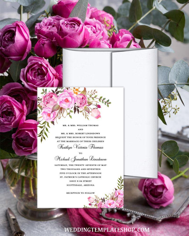 Printable Wedding Invitation Romantic Blossoms Pink Shades ...