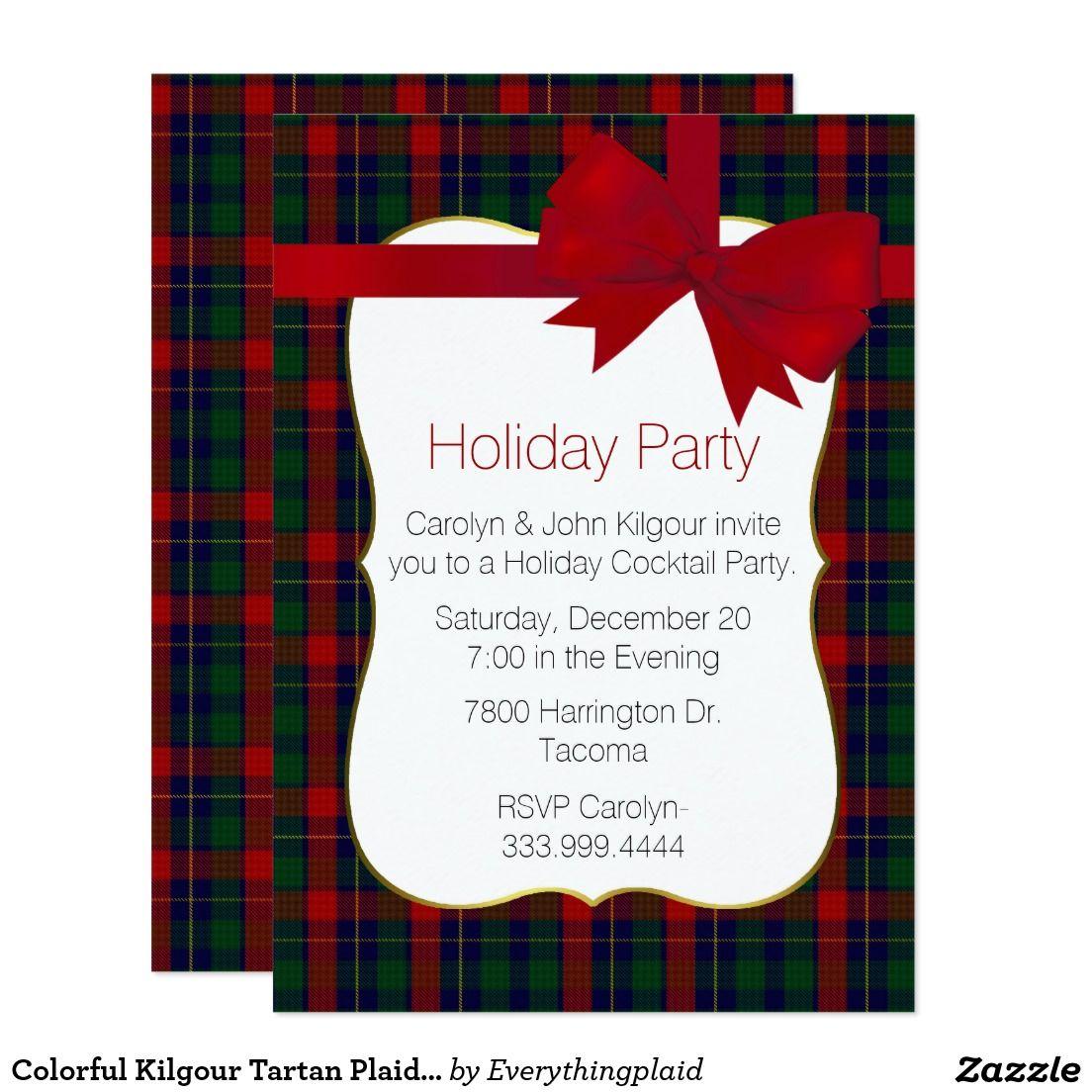 Colorful Kilgour Tartan Plaid Custom Holiday Party Card | Christmas ...