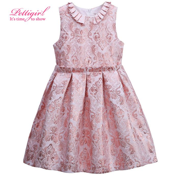 415293e8d Click to Buy    New Pettigirl A-line Sleeveless Pink Jacquard ...