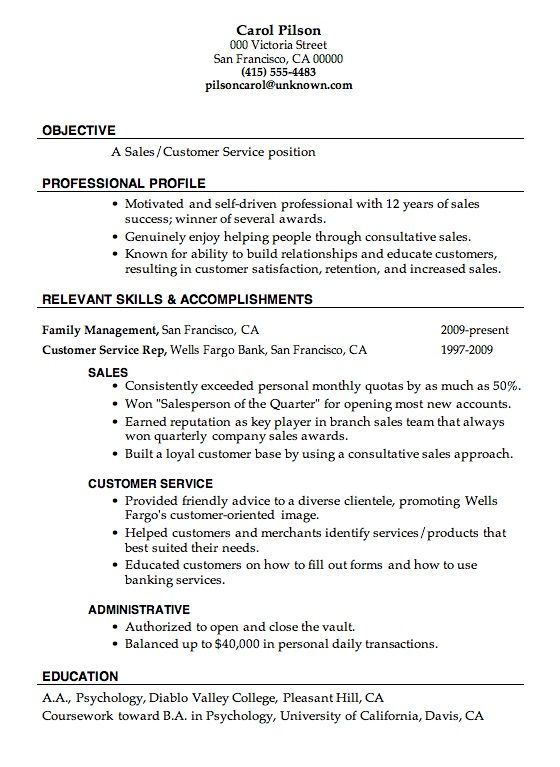 Customer Service Experience Resume #1320 -    topresumeinfo - sales resume objective statement