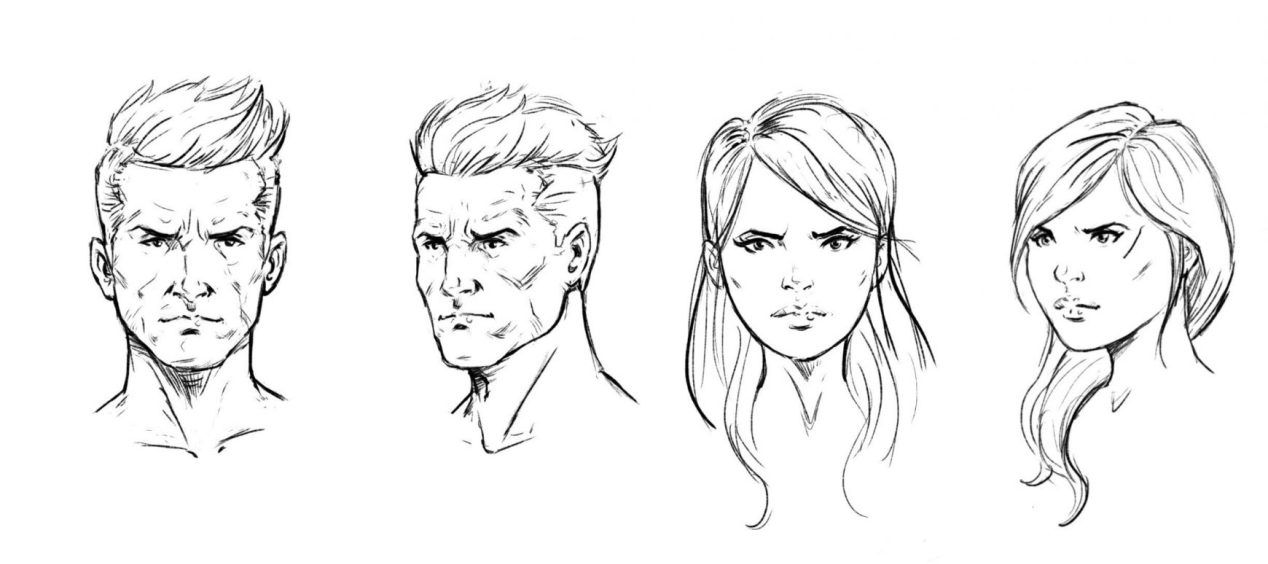 How To Draw A Face Drawing The Male And Female Head Front And 3 4 Drawings Face Drawing Female Head