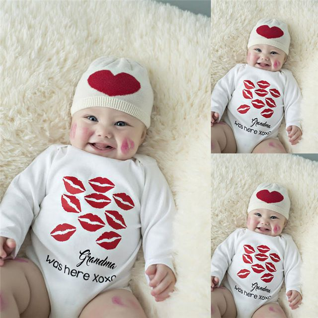 Sweet Kisses Girl Bodysuits Babygrow Playsuit Cotton Outfis Baby Funny Gift