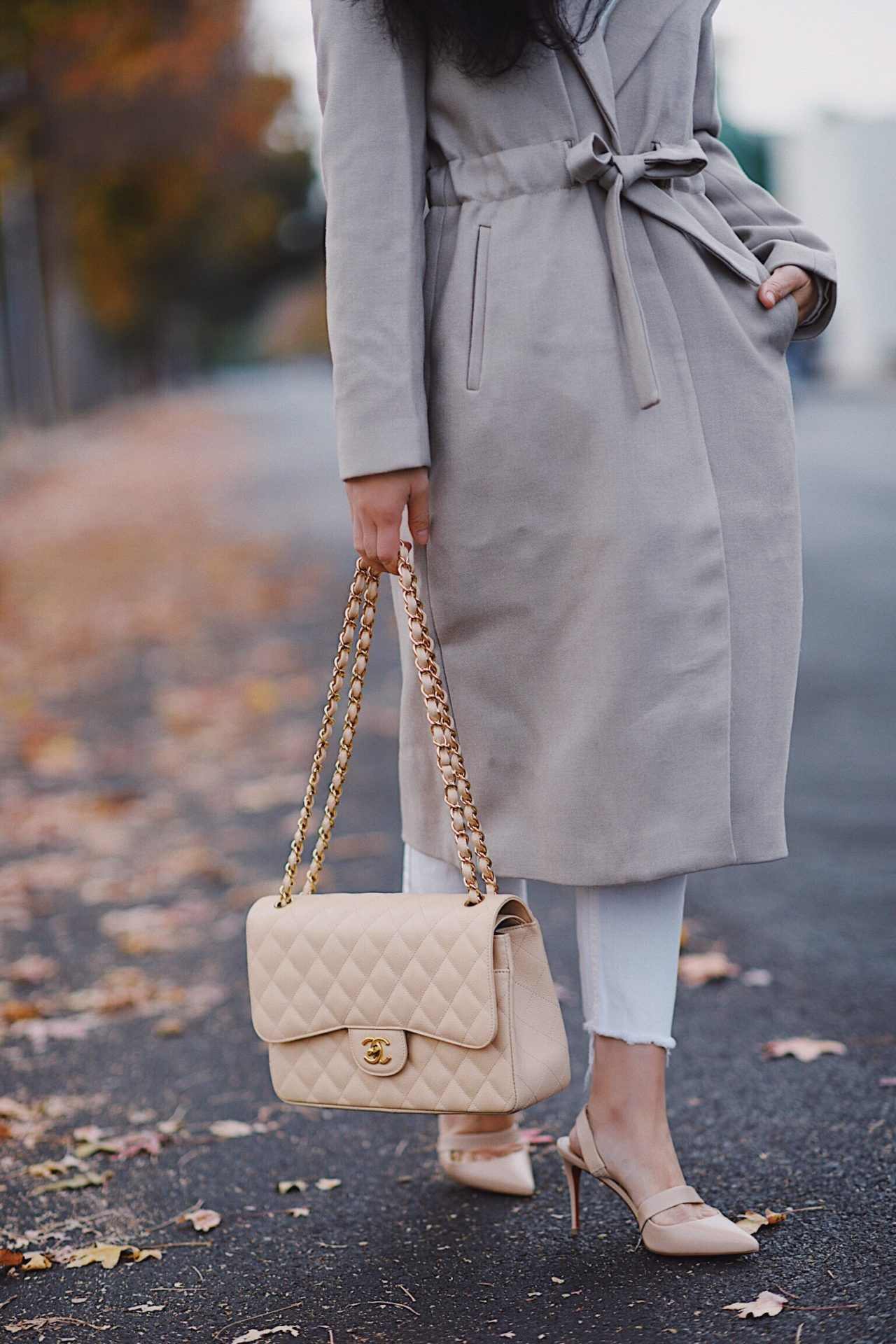 6d2a0848d0738e Winter Neutral Outfit, Beight Chanel Classic and Christian Louboutin Nude  Pumps