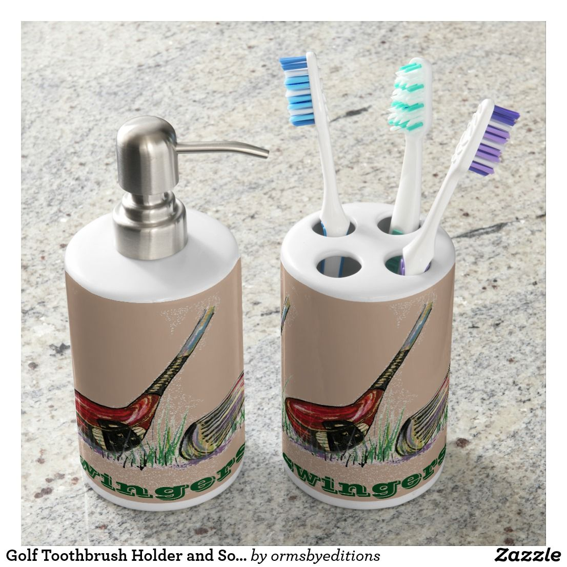 Golf Toothbrush Holder And Soap Dispenser Toothbrush Holders Bath - Golf bathroom accessories