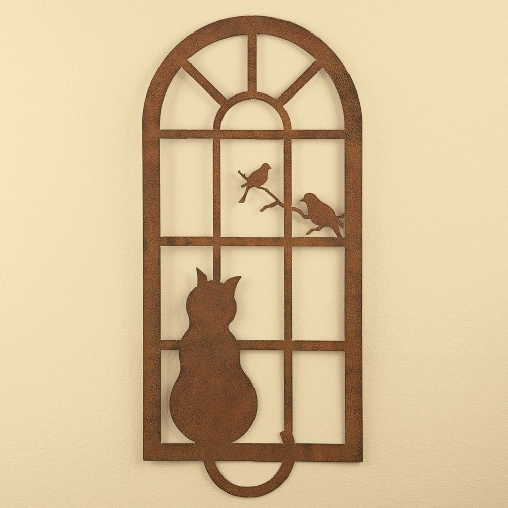 Rustic Metal Wall Hangings Kitty Cat In Window Watching Birds Rustic Metal Wall Art Hanging