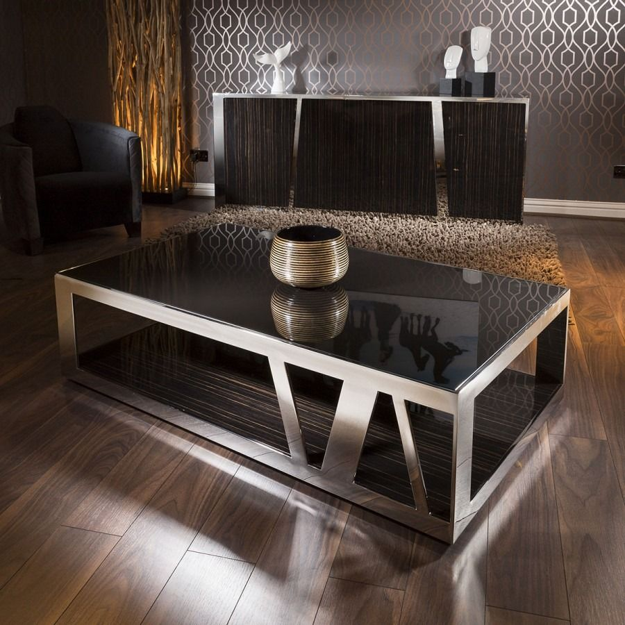 Modern Luxury Large Rectangular Coffee Table Glass Ebony