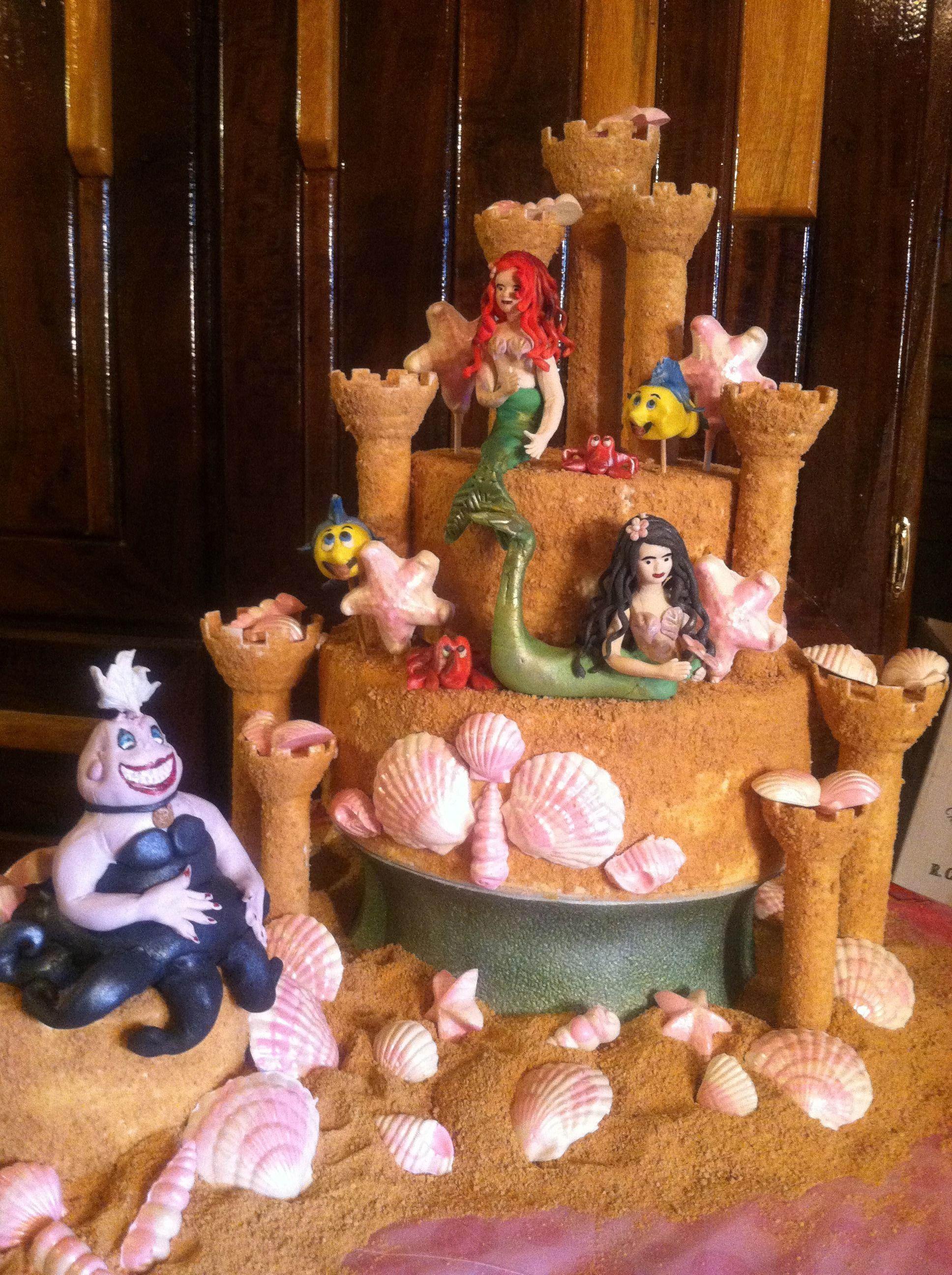 Little mermaid sand castle birthday cake castle birthday