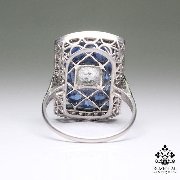 Antique Art Deco Platinum 1.75ctw. Diamond & Sapphire Ring – Rozental Antiques