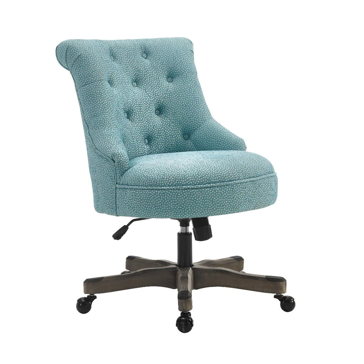 Sinclair Office Chair in Light Blue w/ Gray Wash Wood Base