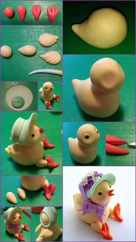 Cute Chicky Chick Tutorial ♥ By : Spatula Sisterhood Materials NB: All sugarpaste will need the appropriate amount of Cmc / Tylose / Gum trag. added (1tsp per 250g) •100g Egg Yellow •small amount of your own chosen colours for hat, ribbon and flowers •small amount orange, white and black •Edible glue •Tool for scribing lines…  Click on the link for Step-by-step and to read more… http://www.spatulasisterhood.co.uk/chicky-chick-tutorial/ — with Silvia Falzoi.