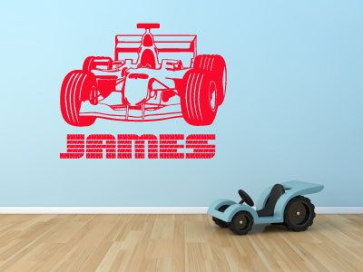 Personalised Racing Car Name Wall Art Removable Sticker Tyres F - Wall decals carsracing car wall decal ideas for the kids pinterest wall