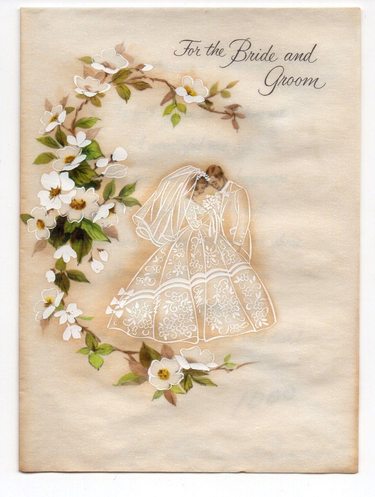 Vintage Hallmark Wedding Greeting Card Bride & Groom picclick.com