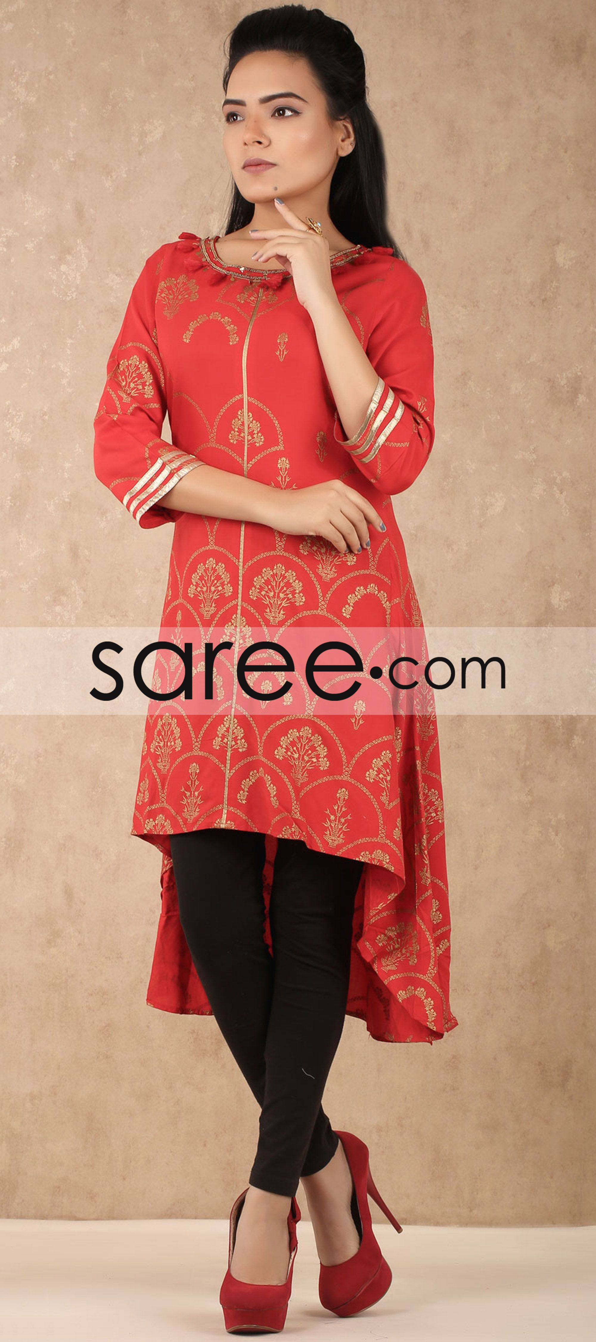 d00a967b4 Red Cotton Silk High Low Style Kurti