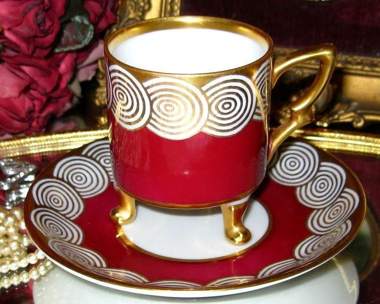 Mitterteich Bavaria RED GOLD DEMI 3 FOOTED TEA Cup and Saucer GERMAN