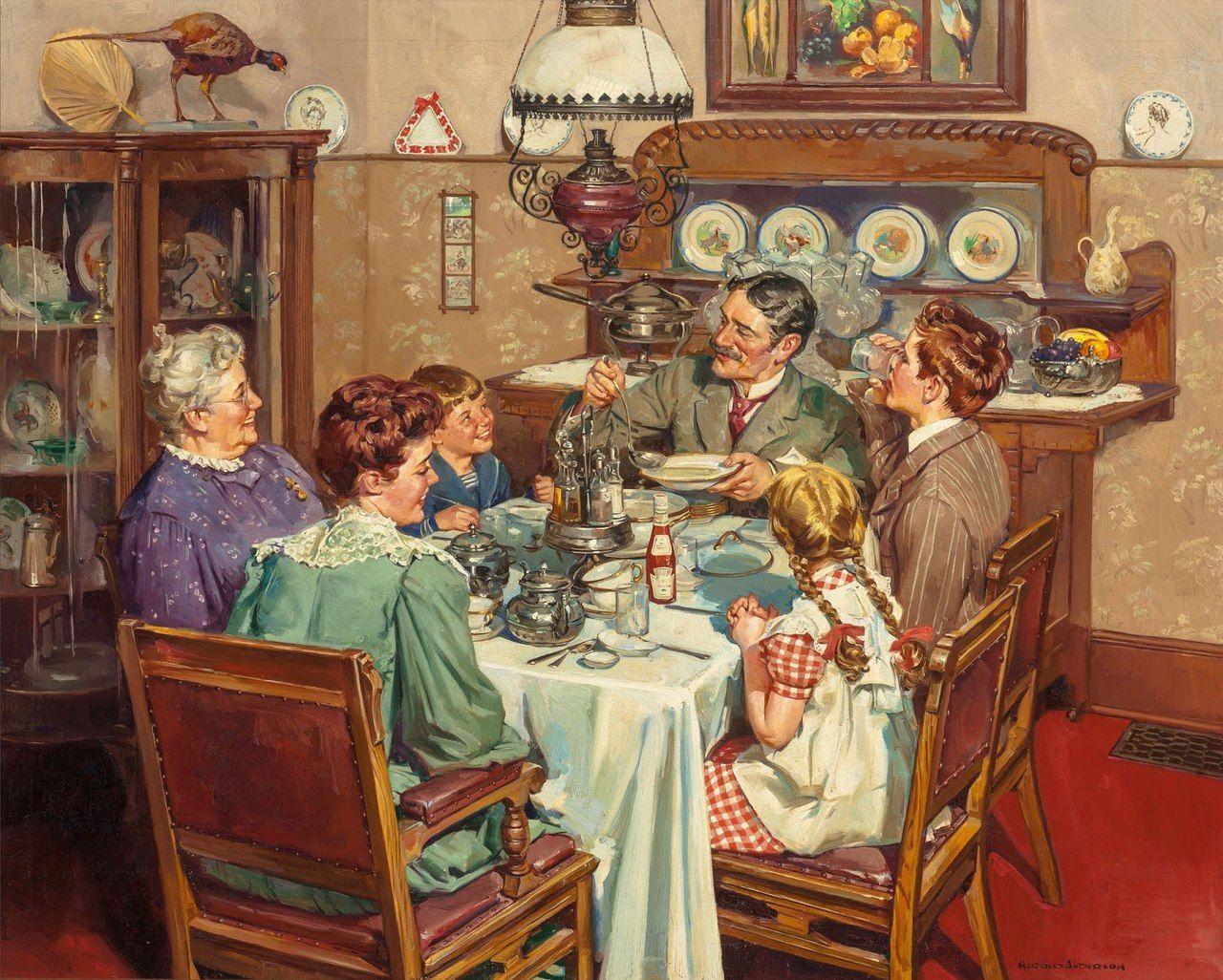 просто картинка семья за столом чаепитие считанные минуты