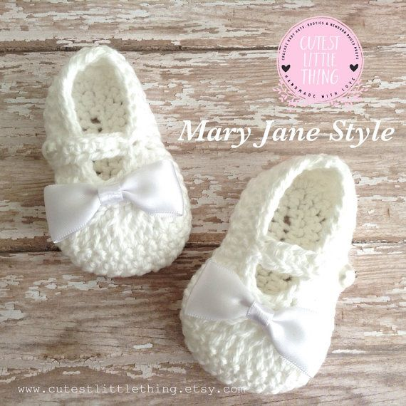 Baby Booties, Crochet Baby Booties, Baby Girl Booties, Christening ...