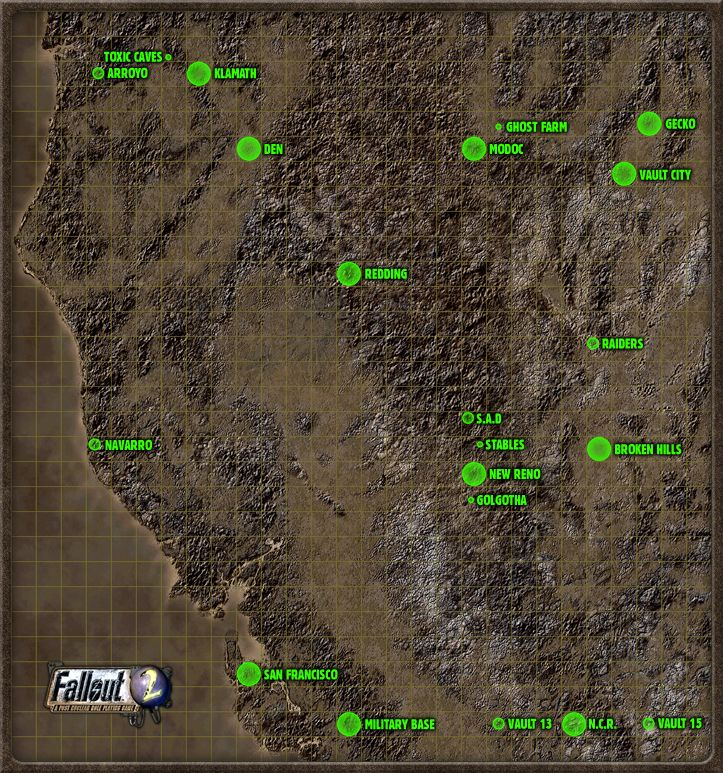 Fallout 2 World Map Fallout 2 Tactical Map | Fallout new vegas, Birds eye view map