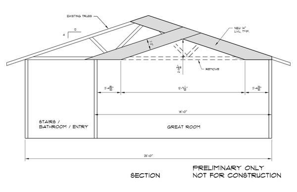 Truss Modification Vaulted Ceiling Living Room Roof Trusses Roof Plan