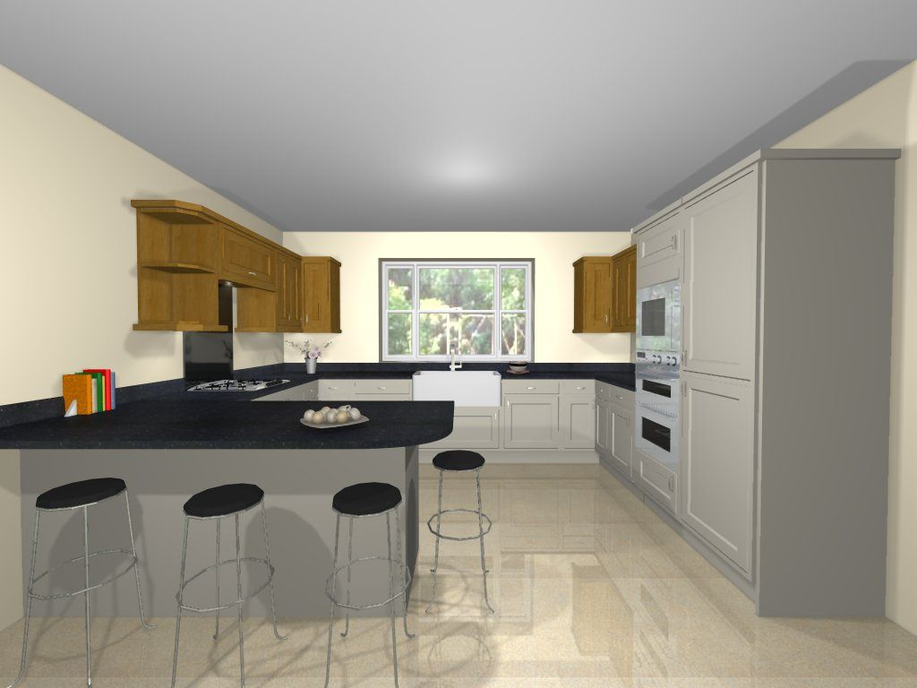 3d g shaped kitchen design cuisines maison idee cuisine ouverte amenagement maison on g kitchen layout design id=55465