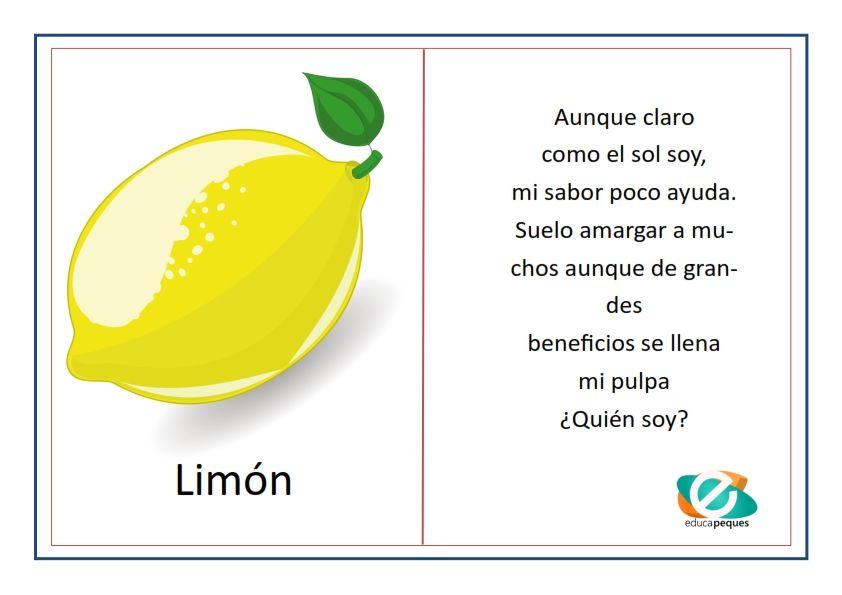 Adivinanzas de frutas para niños. Fichas con adivinanzas | Fruta ...
