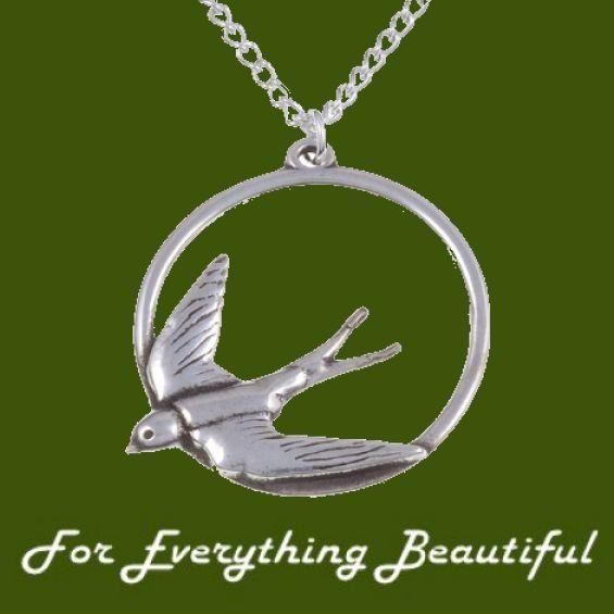 Swooping Swallow Bird Hoop Circular Stylish Pewter Pendant