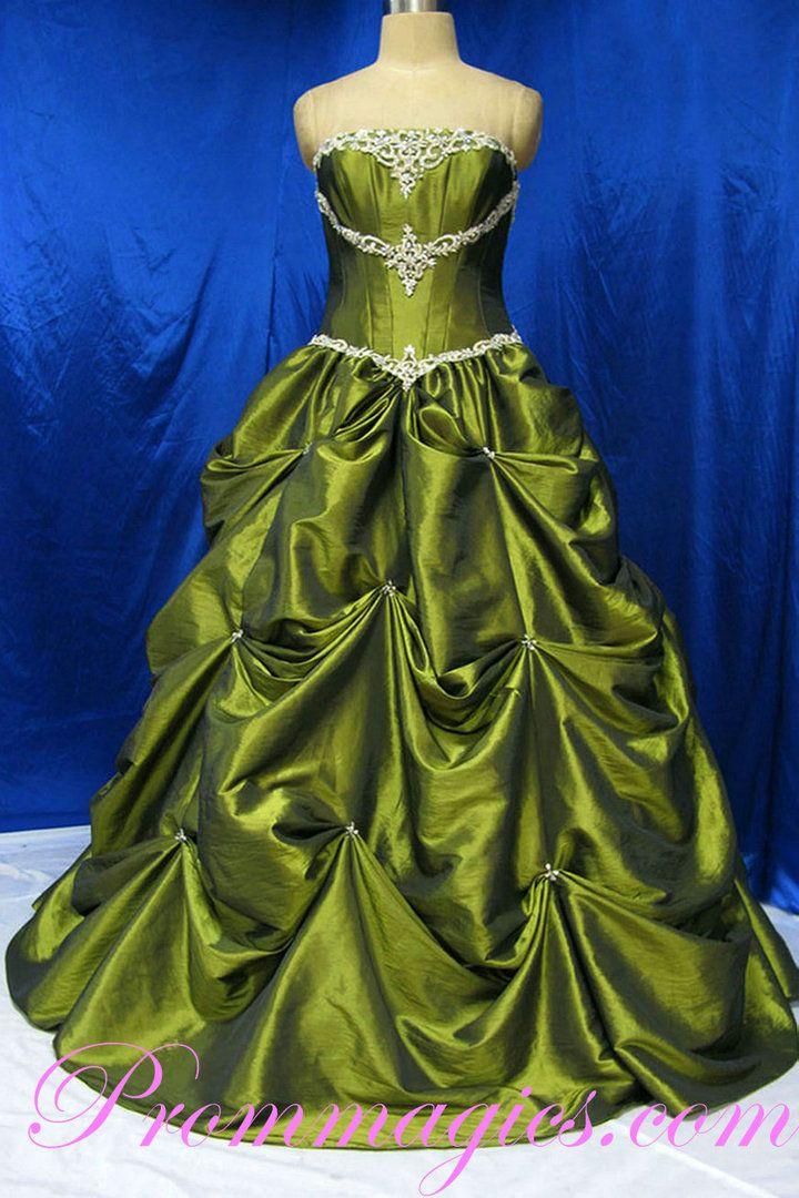 Bubble Beading Hunter Real Sample Taffeta Prom Dress With Beautiful Waistline