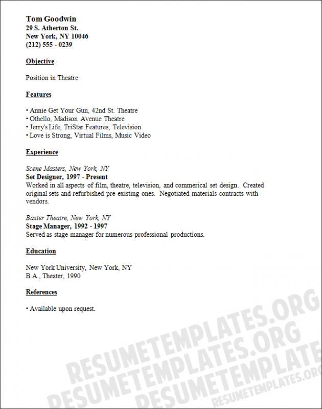 Theatre Resume Template Check More At  Https://nationalgriefawarenessday.com/5826/
