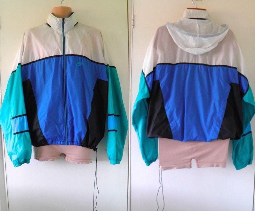 VTG Retro Festival Rare 90s NIKE Windbreaker Track Shell Suit Jacket Coat  Men XL