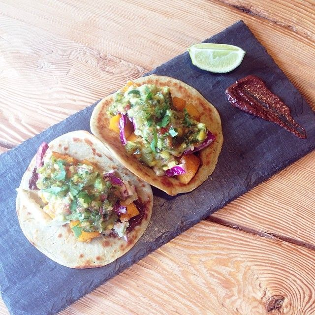 Vegan Squash Tacos. Quinoa Tortillas. Cacao Mole. Mexican Slaw. Guacamole. Mango Salsa.