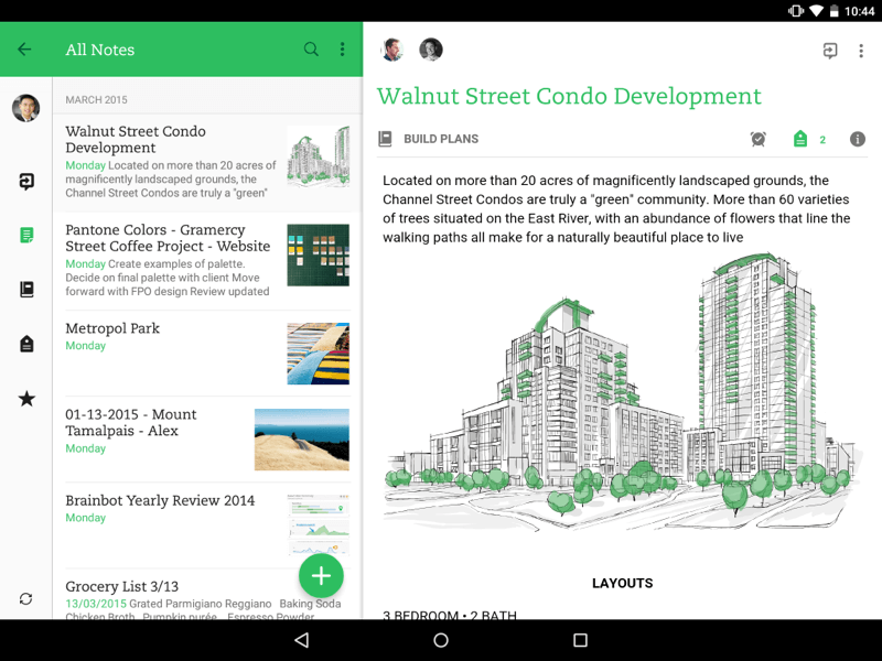 Ejemplo master detail en android aplicacin evernote desarrollo in mid march evernote updated their android app for phones with a material design makeover bringing the app in line with the latest design standards from ccuart Gallery