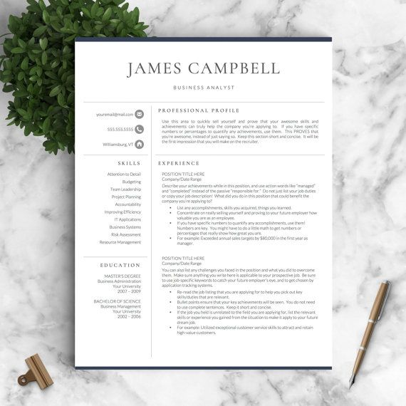 2 Page Resume Sample Classy Resume Template  Professional Resume Template For Word & Pages  .