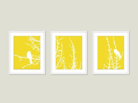 Modern Birds on Branches Art Prints - Birds Wall Art - Yellow Art ...