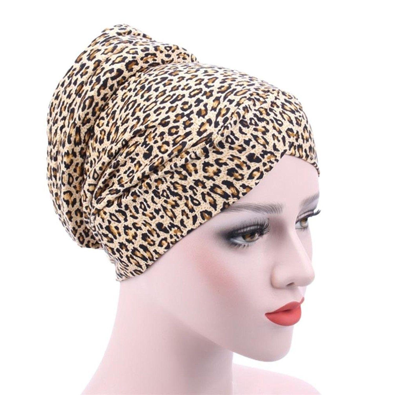 830928d73a6 DEESEE Women Muslim Stretch Turban Hat Chemo Cap Hair Loss Head Scarf Wrap  Hijib Cap - E - C418546CG8O - Hats   Caps
