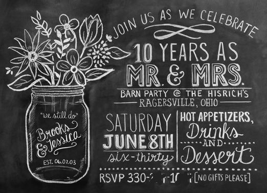 Our 10th Anniversary Rustic Barn Party 10th Wedding Anniversary Party Anniversary Invitations 25th Anniversary Party