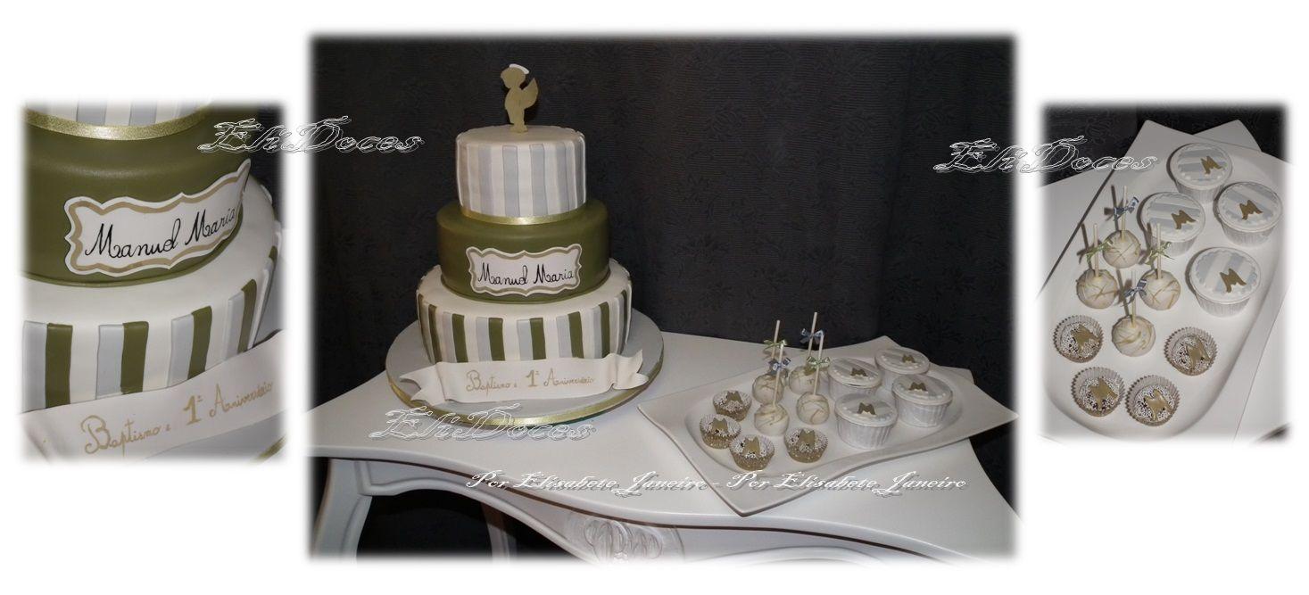 Bolo Baptizado, brigadeiros, cakepops e cupcakes
