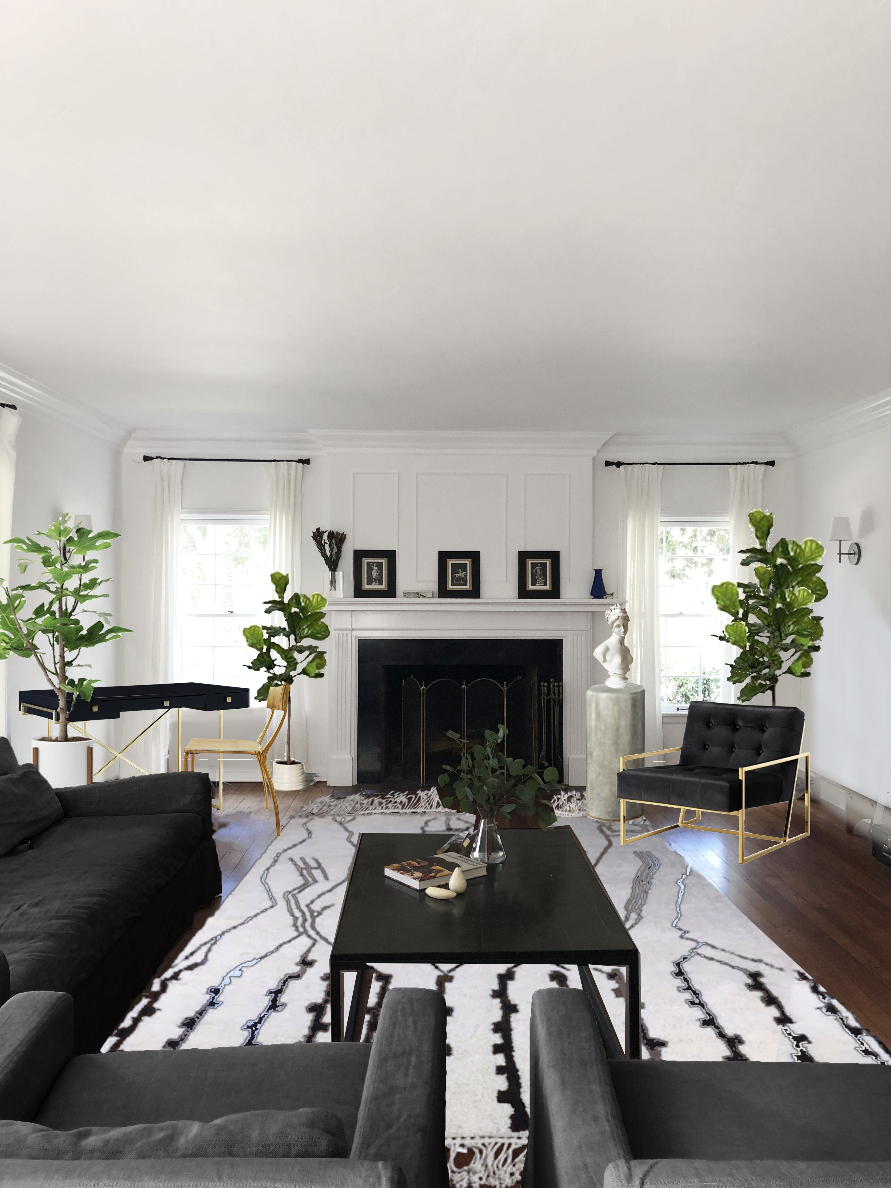 Hill House Living Room 2 View Cb2 Desk And Chair Houzz Rh Sofas Chairs Pilar Etsy Venus Bust