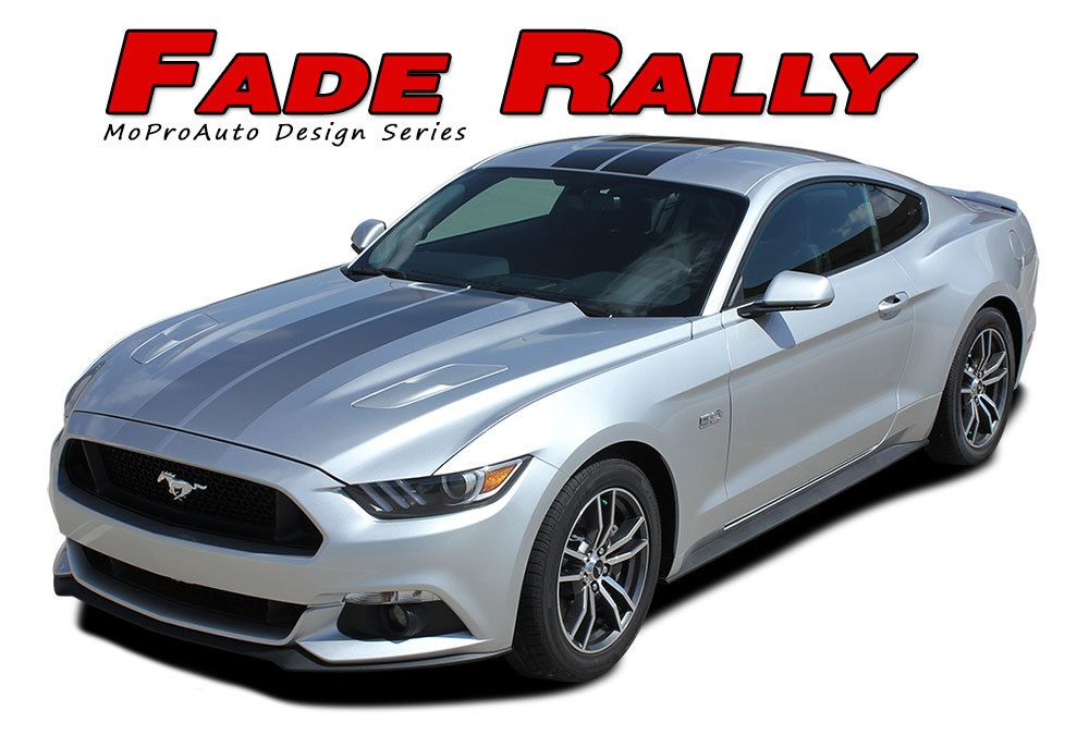 Fade Rally Ford Mustang Faded Racing Stripes Fading Hood Vinyl Graphic Ebony Silver Fading Decals Vinyl Graphic Fits 2015 2016 2017 Ford Mustang Mustang Racing Stripes