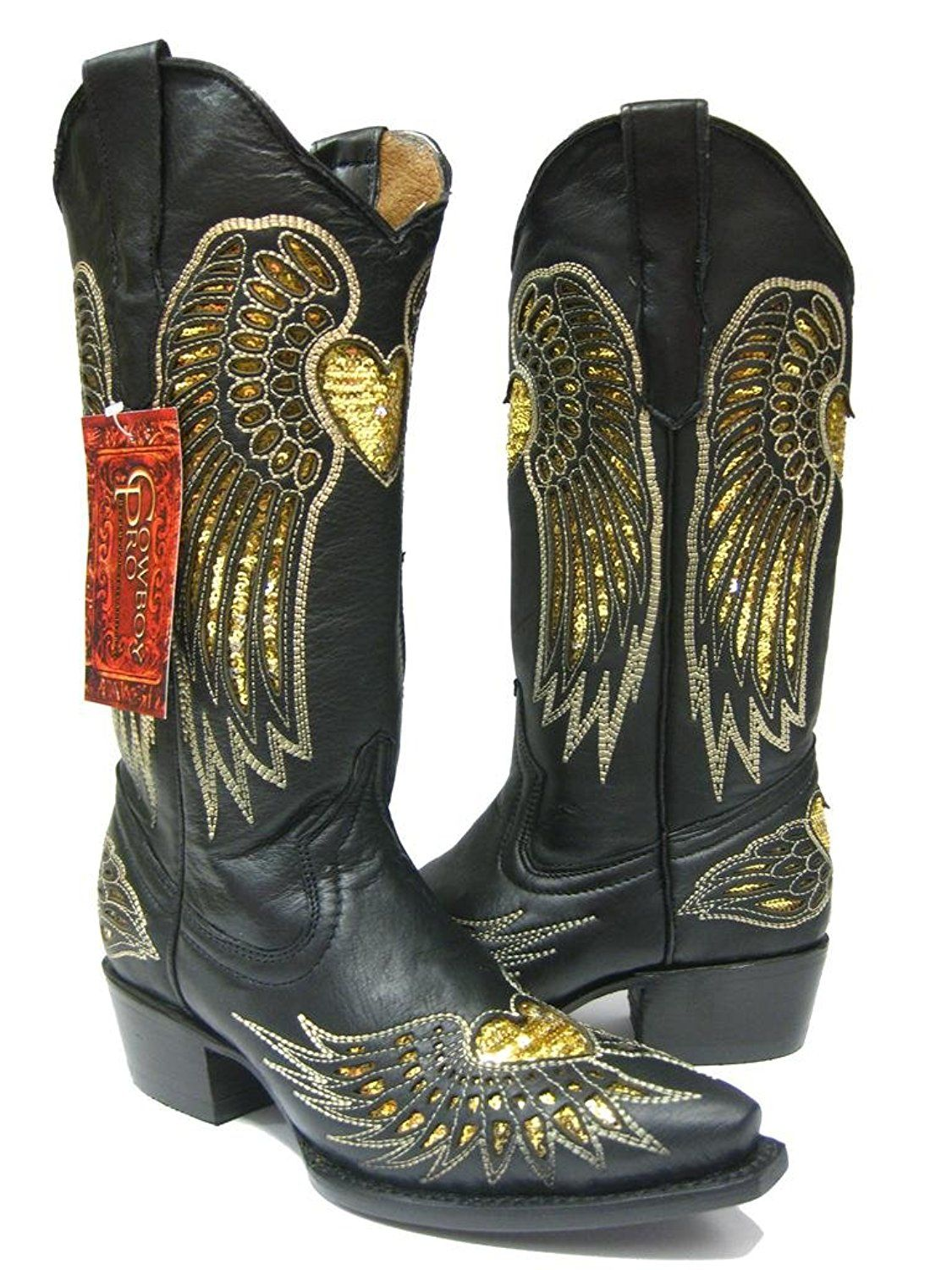 7681c25b27a Cowboy Professional - Women's Wings with Heart Black Leather Cowboy ...