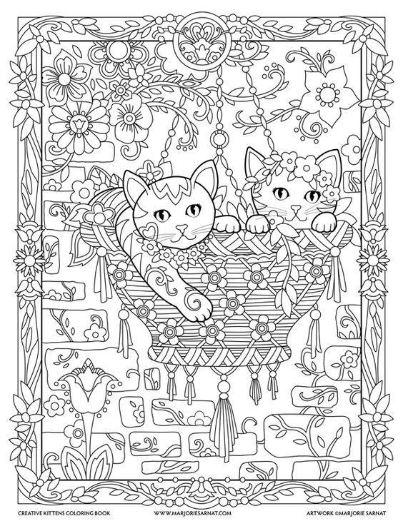 Quatang Gallery- Hanging Basket Creative Kittens Coloring Book By Marjorie Sarnat Mandala Kleurplaten Kleurboek Kleurplaten