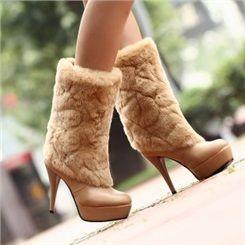 Shoespie Plush Decoration Mid-calf High Heels Boots