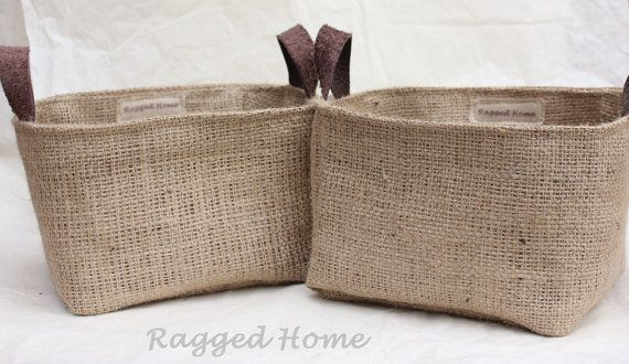 Hessian Burlap Storage Baskets Square With Leather By RaggedHome