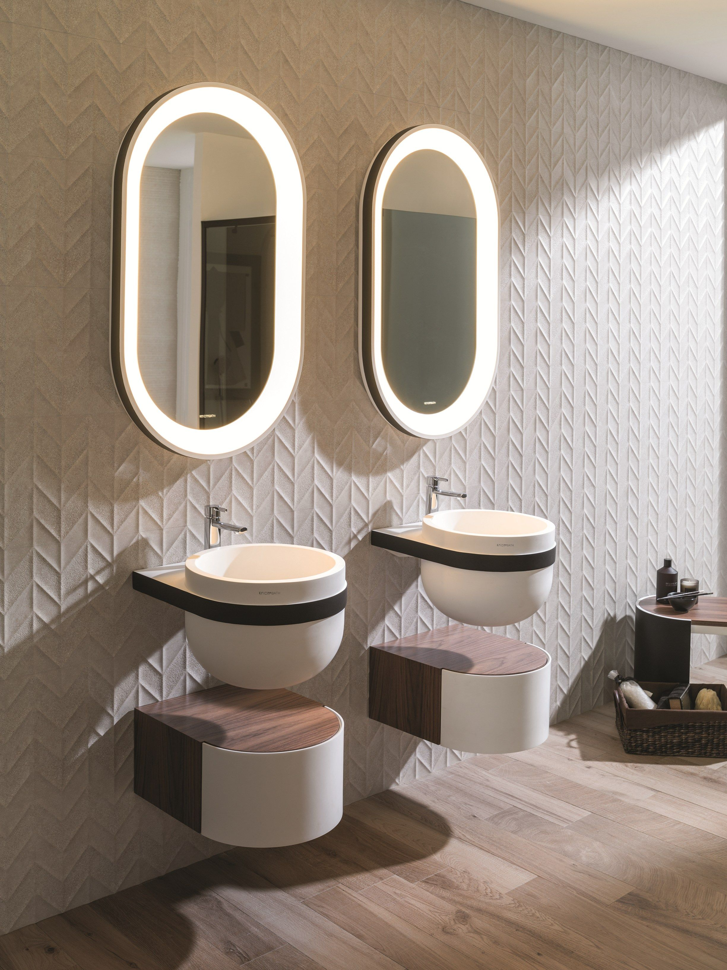 Systempool round wall-mounted krion® washbasin aro | systempool | bathroom