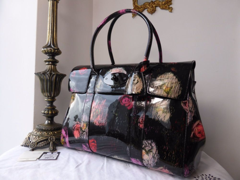Mulberry Bayswater in Scribbly Floral Patent Leather