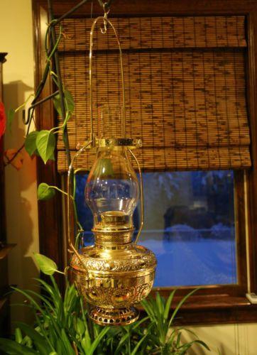 Fabulous Antique Miller Hanging Country Store Oil Kerosene Lamp Wonen